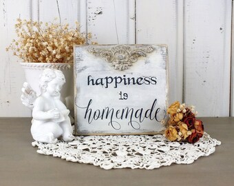Happiness sign Happiness is homemade signs French country small wooden block Rustic kitchen bar signage Positive quote Farmhouse decoration