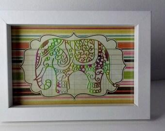 Elephant in white frame