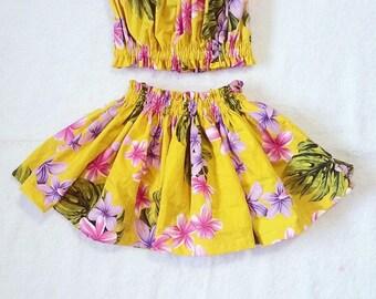 kids hula skirt, girls hula outfit, baby / toddler  luau outfit, kids  luau birthday, 3 piece set