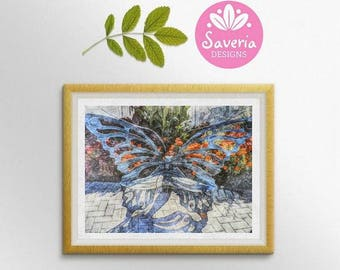 Butterfly giclee print, butterfly wall art, butterfly decor, garden art print, garden decor, blue butterfly, flower garden print, garden art