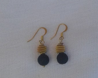 volcanic stone with  gold plated and hooks from sterling silver