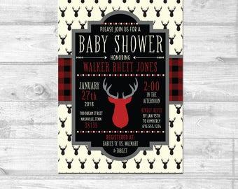 Buffalo Plaid Baby Shower Invitation | Invitation with Deer | Digital File | Rustic Shower Invitation | Red Plaid - Printable Files