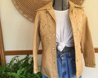 70s Vegan Leather Jacket with Embroidery
