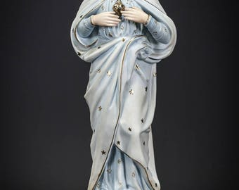 "Christ Statue | Sacred Heart of Jesus Figure | Antique Bisque Porcelain Figurine | Religious Sculpture | 14"" Large"