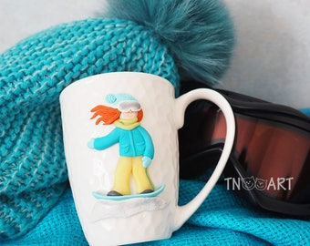 Snowboarder Girl Mug / Decorated mug / polymer clay gift cup / snowboarding girl / teacup decor coffee tea cup / snowboard mountains winter