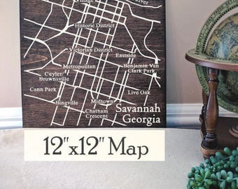 Savannah City Map, Large Wooden Map, Savannah Map, Savannah Map Wall Art, Wooden Street Map, Painted Wood Map, Address Map by Novel Maps