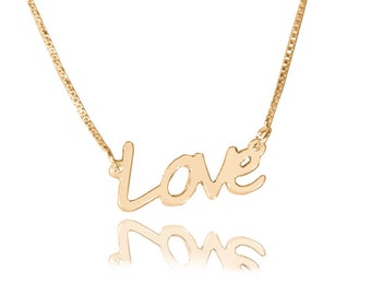 Gold love necklace etsy love necklace gold 14k gold love necklace script love necklace gold love necklace cursive love necklace aloadofball Image collections