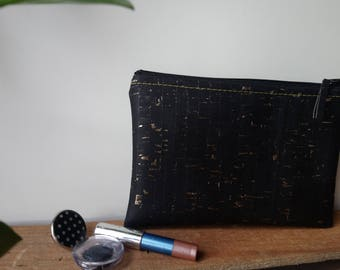 DOTS of sewing - kit vegan leather black and gold - Cork - cork - handmade - made in France - gift for her - eco-friendly