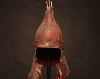 Medieval Eastern Leather Helmet | medieval nomad сostume | mongol armor | head armour | artificial aging