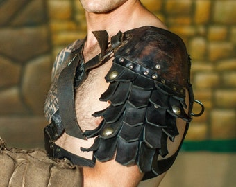 Medieval Leather Pauldrons segmented | gladiator's armor | warrior pauldrons | viking pauldrons | leather armour artificial aging |