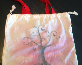 "Durable Canvas Reusable Market Bag--embellished design by Cara--""Think"""