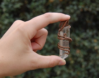 Wire Wrapped Copper Crystal Necklace