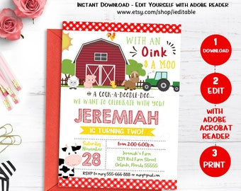 Farm Birthday Invitation, Farm Animals Chalkboard, Old McDonald invite, Barnyard, Editable invitation, template, Instand download