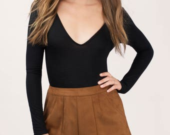 Camel Brown Suede High Waisted Boho Bohemian Luxe Chic Shorts