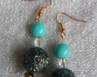 Aqua blue synthetic  with dull golden