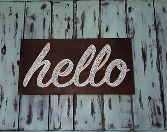 Hello String Art/ Hello Sign/ Welcome Sign/ Entryway Sign/ Greetings Decor/ Gifts for her/ Wedding Gift/ Housewarming Gift/ Unique Gift