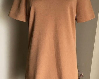 60s Vintage Brown Polyester Nardis of Dallas Mini Dress/ Small/ Medium