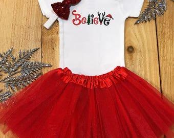 Believe onesie, baby girl onesie, santa onesie, christmas onesie, christmas baby girl, christmas outfit, sleigh onesie, holiday baby girl
