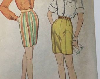 Simplicity 3520 1960s shirt and short pattern Junior size 11 bust 31 1/2