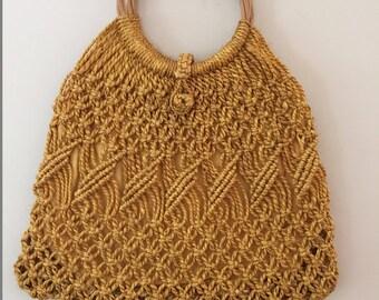1970s Vintage Macrame Handbag/Mustard Jute/BambooHandles/Lined