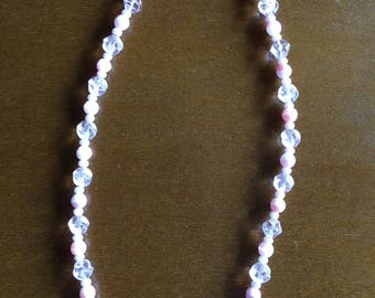 Necklace  Pink Glass and crystals