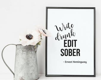 Poster, art print, digital print, saying posters for bookworms and Booknerds. Hemingway. Inspirational quotes