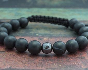 Adjustable Mens Bracelet Mens Gift Bracelet Mens Black Bracelet Agate Bracelet for Boyfriend Gift Beaded Bracelet for Him Mens Jewelry
