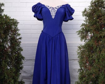 Vintage Princess Dress in Royal Blue