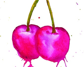 Cherry Cherries Watercolour Painting Giclee Print A4