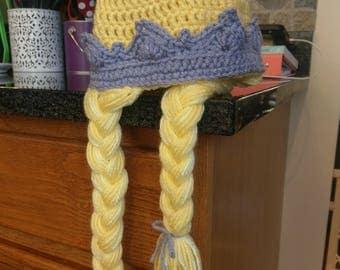 Crochet Princess Hat - Princess Beanie with Crown - Baby Shower Gift - Princess Photo Prop - Princess Braids Hat - Crown