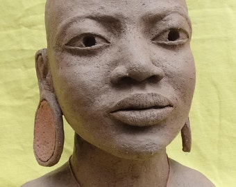 African woman Portrait sculpture