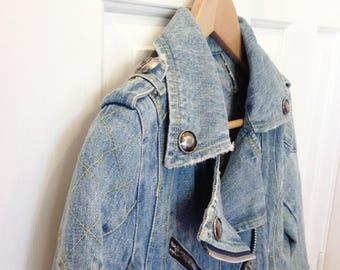 Distressed Denim Moto Jacket