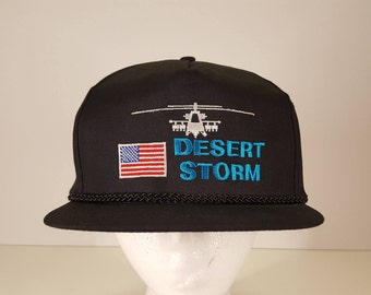 Desert Storm Military Vintage Black Snapback Hat 90s