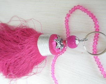 Oriental Keychain with Pearl encrusted with micro beads and fushia pink tassel Marrakech