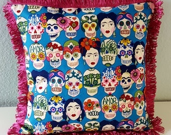 Frida Kahlo Faces luxury pillow cover with ribbon trim