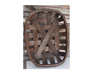 Large Dark Brown Tobacco Basket Farmhouse Wall Decor