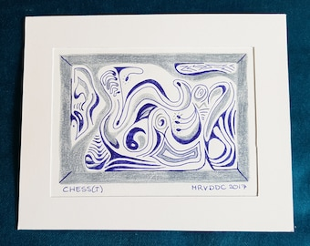 """Original abstract drawing with pencil and pen """"Chess (t)"""""""