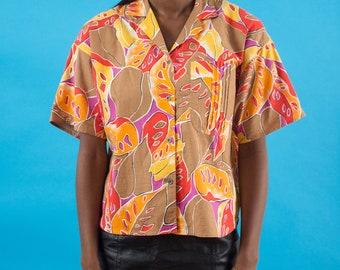 Hawaiian Shirt, Psychedelic, Vintage 80s, Floral Shirt, Palm Tree, Leaf Print, Spring Shirt, 80s Clothing, Summer Shirt, Hipster, Tropical