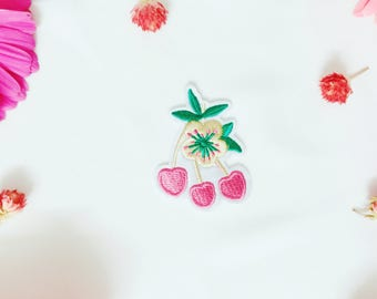 cherry patch,pink cherry patch,fruit patch,iron on patch/sew on patch/embroidered patch/patch for jacket/applique