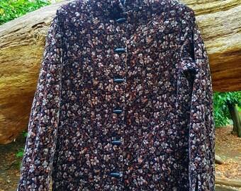 70s velvet padded floral jacket.