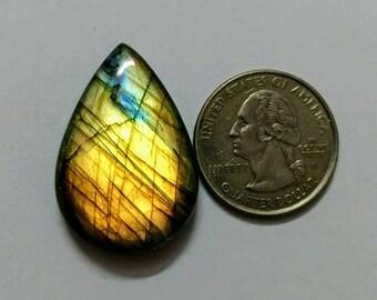 33.22 x 22.40 mm,Pear Shape,Attractive Labradorite /wire wrap stone/Super Shiny/Spectrolite  Cabochon/Semi PreciousGemstone,silver jewelry