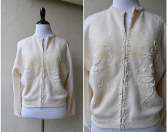 1950's wool cardigan | Wool Sweater | Button Up Cardigan | Beaded Cardigan | Vintage button down | Wool top | Rockabilly | Midcentury