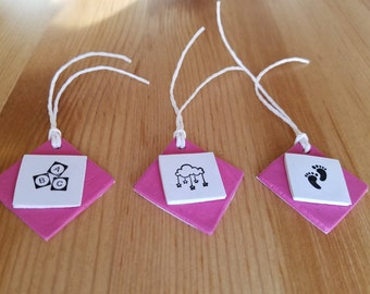 Set of 3 New Baby / Baby Shower  Clay Gift Tags - Pink & Blue Available - Handmade