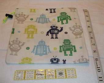 Blue and Green Robots Handmade Drawstring Bag