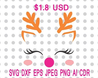 Reindeer Face Svg Dxf Eps Png Jpg Cdr Ai Cut Vector File Silhouette Cameo Cricut Design Vinyl Decal