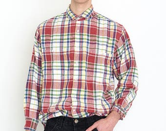 VINTAGE Red White Checked Long Sleeve Retro Shirt