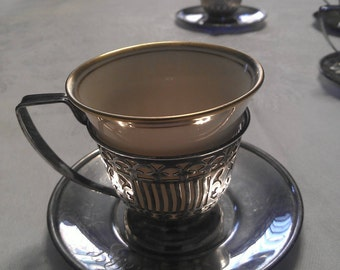 Set of Six Lenox Demitasse Cups with Sterling Silver Holders and Saucers