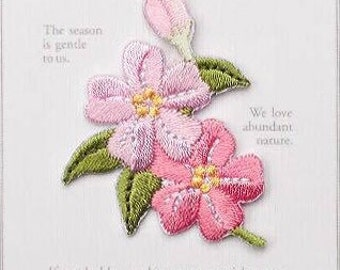 Sakura Patch,Oriental cherry Patch,Iron on patch,Sew on patch,Flower Embroidered Applique,Botanical Applique,Beautiful Gift for Her