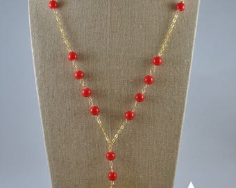 Beautiful gold filled red jewlery  with heart pendant