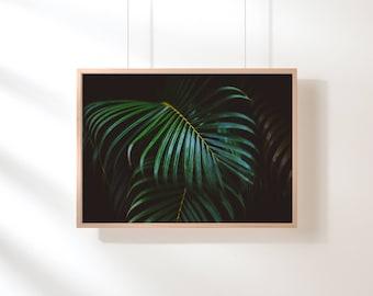 Tropical Green Leaves Art, Tropical Digital Print, Tropical Printable, Botanical Wall Art Plant Wall Print Printable Digital Download Green